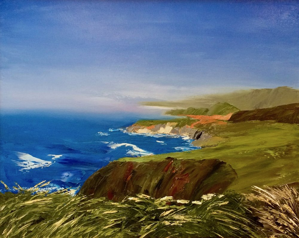 "Big Sur, 20"" x 16"" oil on canvas (palette knife application), on display this month at Gallery 360"