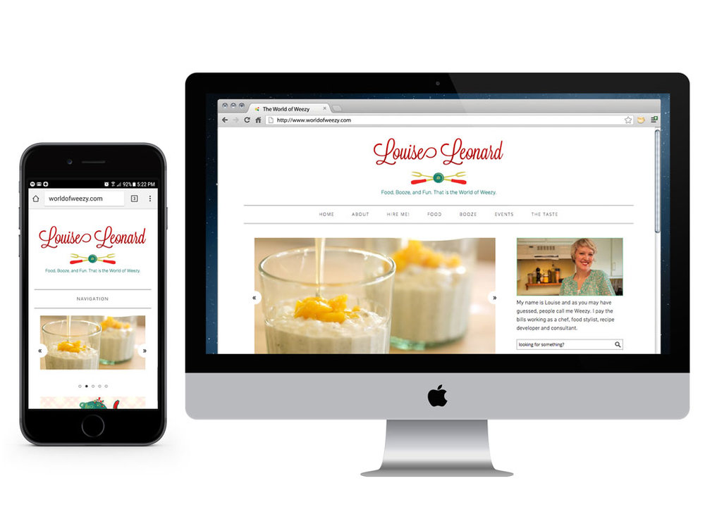 As for functionality, Louise wanted food and drink recipes, a bar map, calendar, and to showcase her food styling in a gallery. This was completed in 2014, and even then I was designing sites to be mobile first.