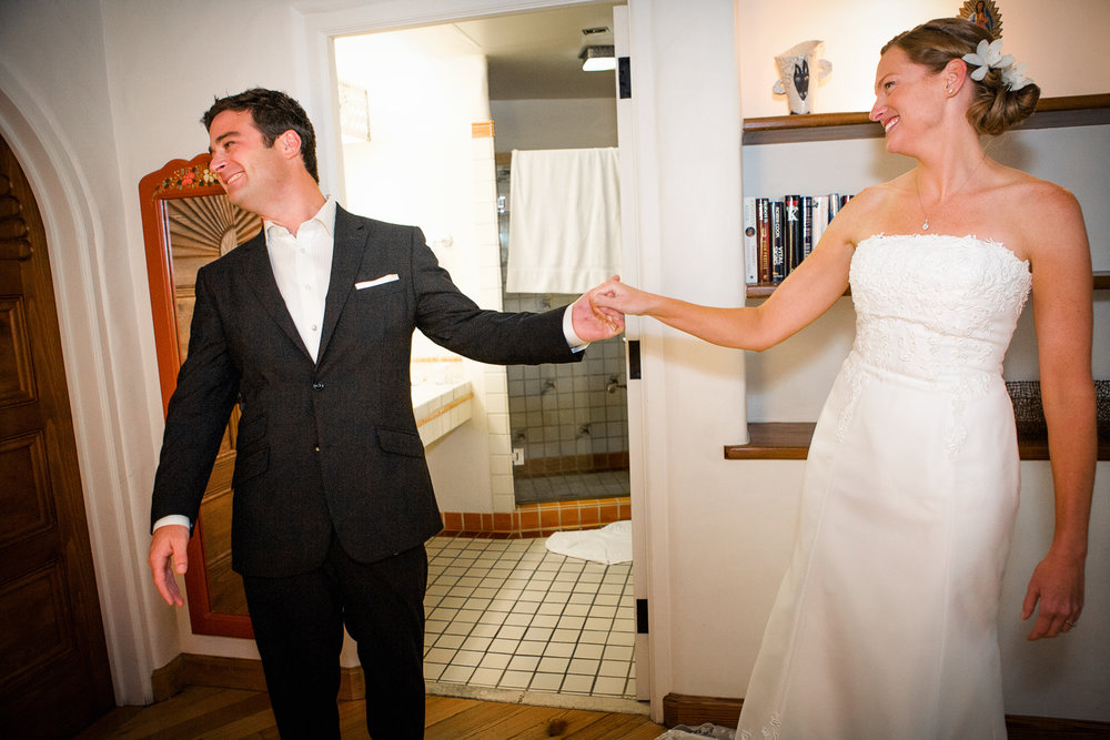 Carlie and I react to seeing one another before the ceremony.
