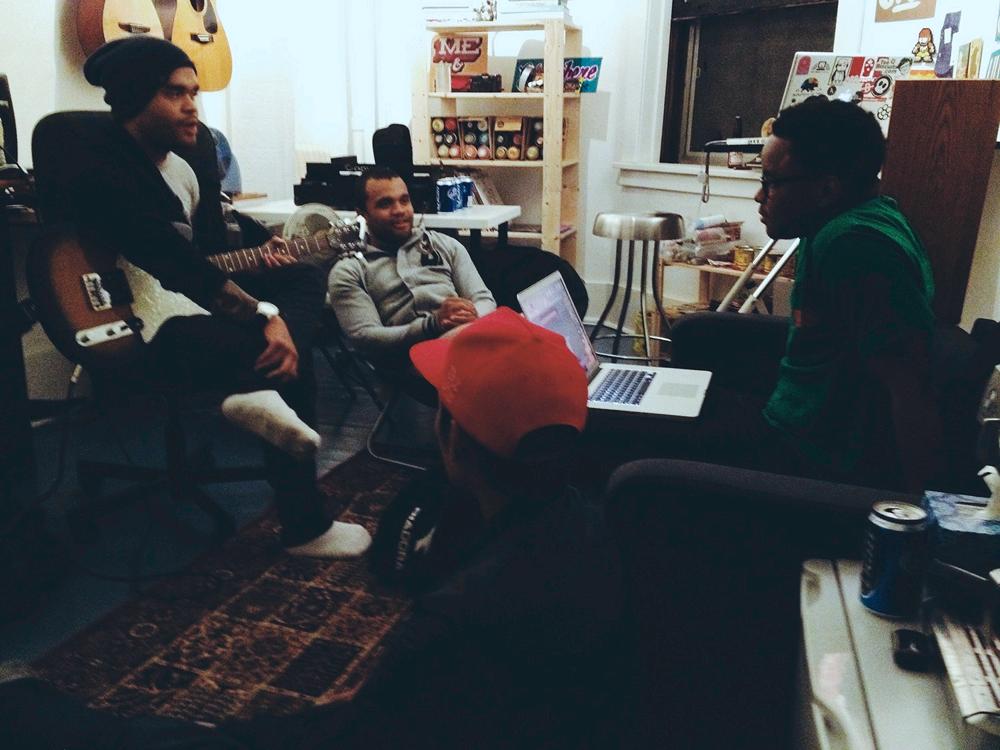 Clockwise from right: Ryan (interviewer), Envoy, Matt, & Malcolm-Jay. Absent: Earl & DJ George.