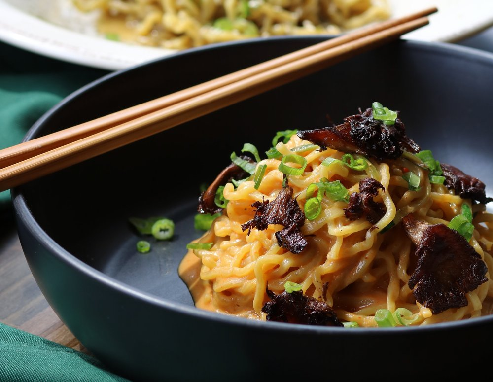 Spicy Dan Dan Noodles with Sichuan pepper, red chile, 5 spice mushrooms. Photo by Fancy Radish