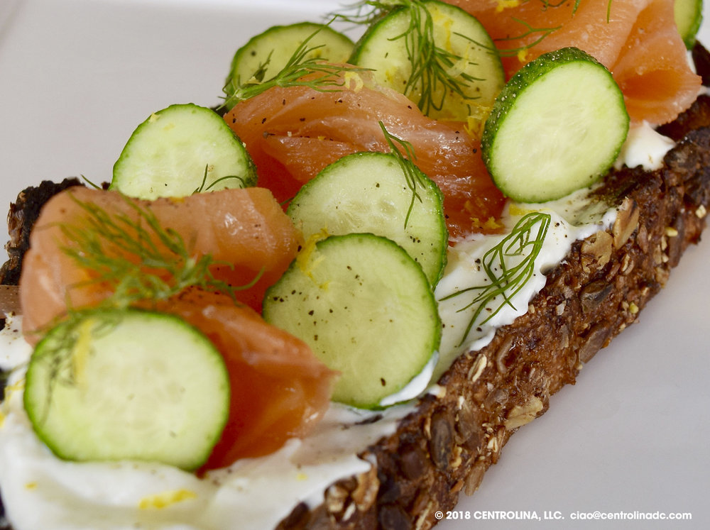 Lox: Smoked salmon, cream cheese, dill, cucumber, lemon on multigrain