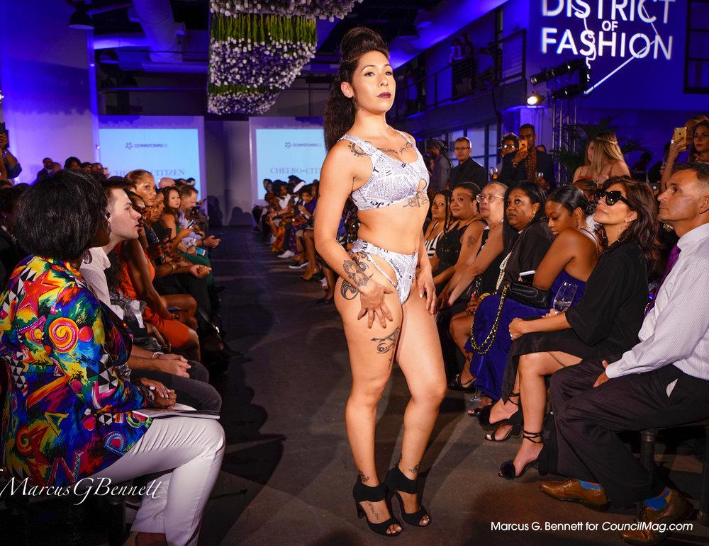 Model wears swimwear from Cheero Citizen.