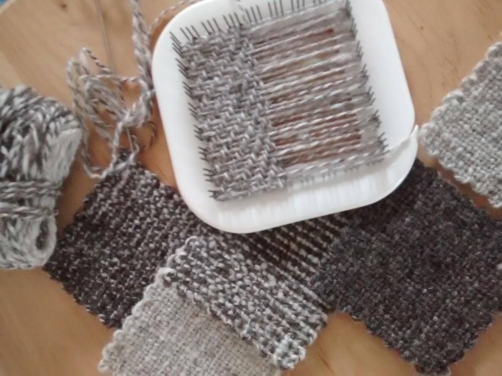 Handspun Maine Jacob wool woven on the Zoom Loom.