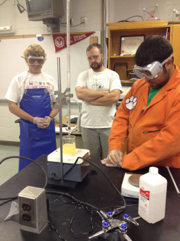 Clemson Biofuels and Bio Systems professor David Thornton visited Polk High and worked with chemistry teacher Mr. Zaleveskiy and biology teacher Kim Mirasola. David continually mentors Polk teachers while they develop their curriculum.