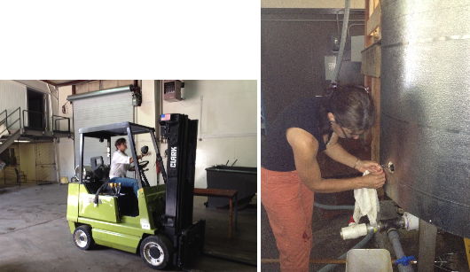 I like my used forklift. Amanda checks the soap pot's temperature probe.