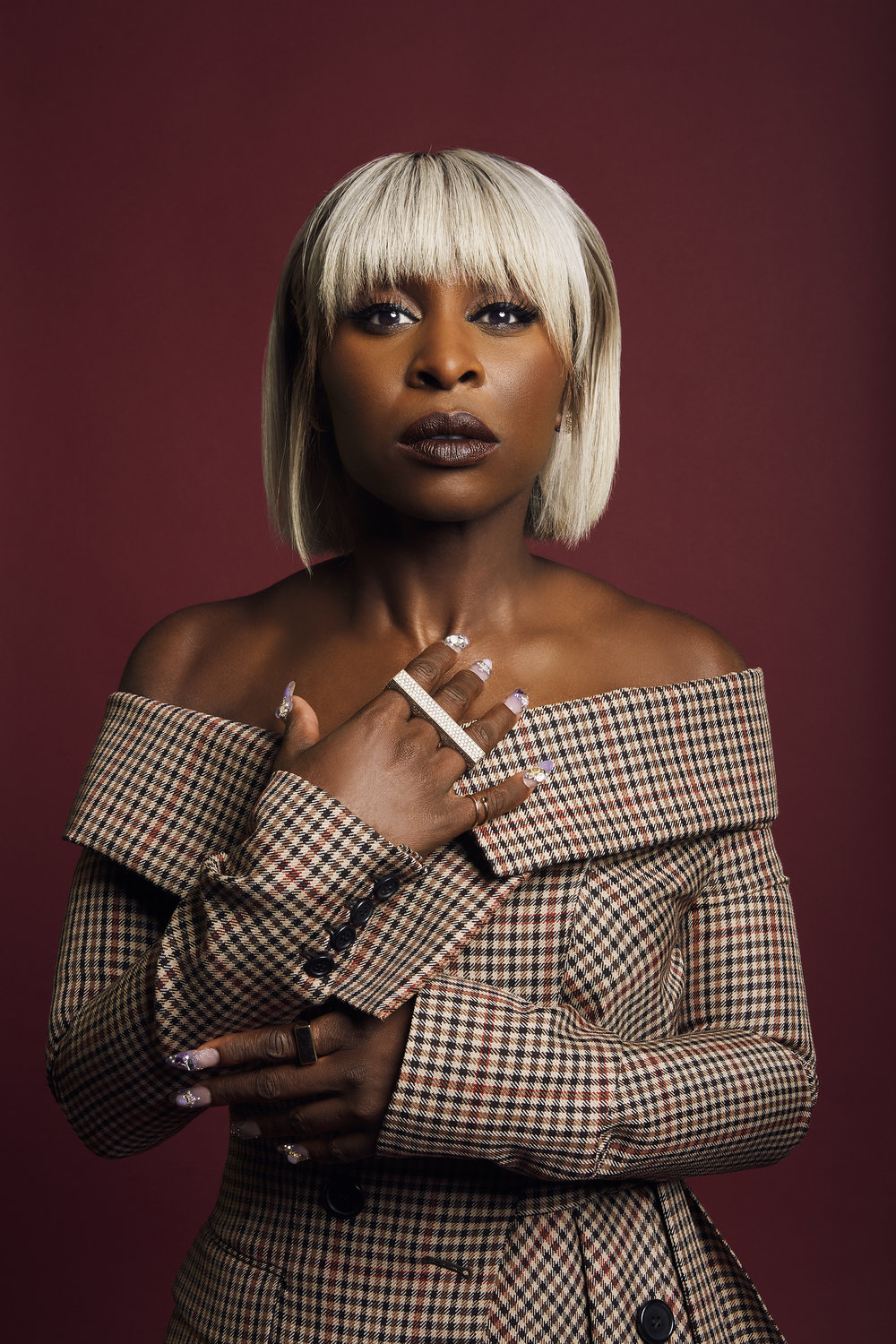Cynthia Erivo Photo credit: Emily Assiran for Backstage Magazine; Hair: Coree Moreno; Makeup: Joanna Simkin; Stylist: Sarah Slutsky; Manicurist: Eri Ishizu; Retouching: Stephanie Price; Shot on location at The Knickerbocker Hotel, NYC.