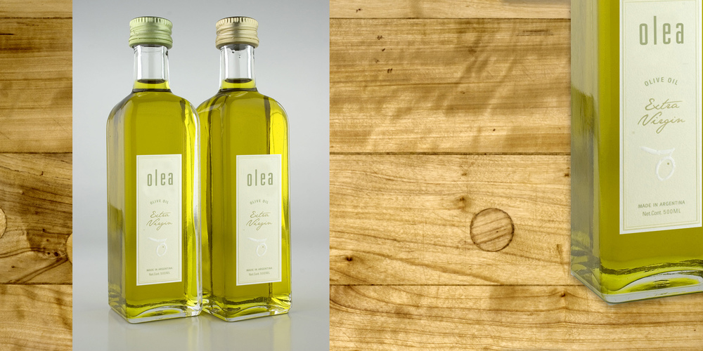 PACKAGING  Olea Olive Oil  Argentinian farmers and vineyards of Olea, needed a package that would showcase the exquisite quality of their oil and convey the freshest ingredients. The design solution was to keep as much of the product visible as possible. Light colors and typography accented the crisp and sophisticated touch for the culinary customers.