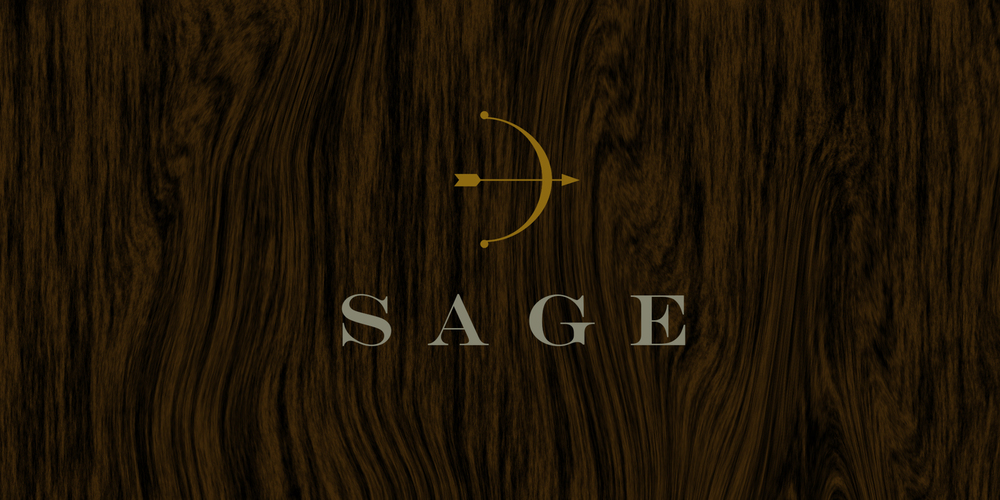 IDENTITY & NAMING  Sage Real Estate  This high end real estate broker in the Texas Hill Country, needed a name and identity that captured a sophisticated and elegant nature of their clientele. The name Sage delivers multiple meanings from wisdom and a keen eye to robust and ornamental. These attributes fueled the creation of the mark—a bow and arrow that beautifully symbolizes precision, strategy and craft of finding the right properties for their clients.