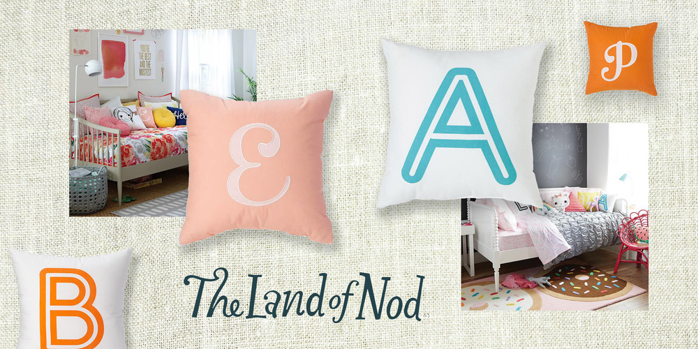 TYPOGRAPHY / PRODUCT  Land of Nod  The national children's store retailer wanted to update their typeset pillow collections for both girls and boys to personalize their rooms with. We leveraged the vibrant color palettes and made typographic statements withbold vintage script and inline solutions.