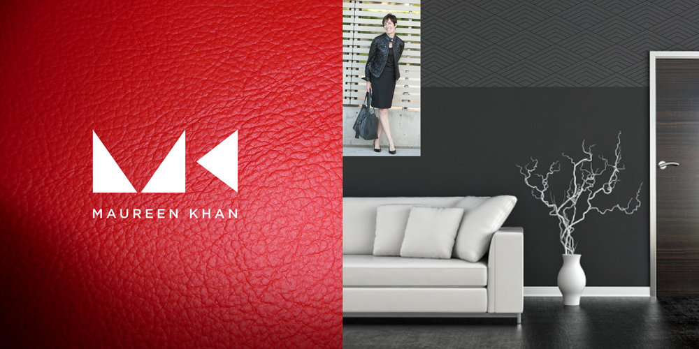 IDENTITY  Maureen Khan  As a leading and premium realtor offering alternative solutions on Seattle's Eastside, Maureen Khan needed an identity that separated from the traditional real estate model. We created a dynamic and modern monogram logo that has a dramatic effect when paired with colors, texture and photography. Alongside the bold mark, we added a sophisticated touch to color, pattern and other details to position Maureen as a premium choice in real estate.