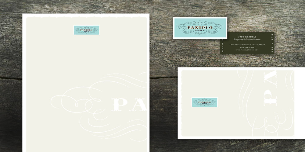 IDENTITY  Paniolo Ranch  We continued the wit and charm for this Texas Wedding Ranch with their business paper system. The whimsical typography and logo paired with a soft elegant palette, captured their down-to-earth but sophisticated audience.