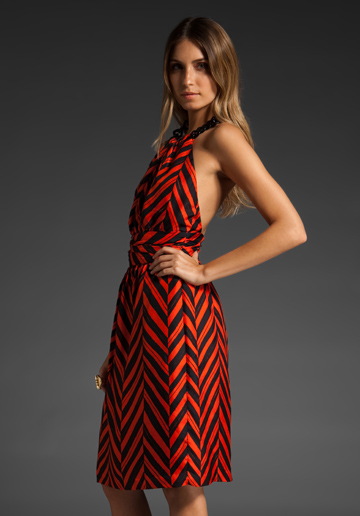 Milly of New York Chevron Halter Dress