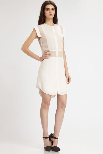 T by Alexander Wang Semi-Sheer Silk Dress