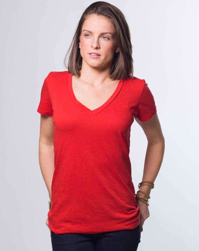 Women's Slub V-Neck Tee by Marine Layer