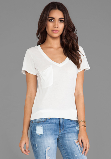 Bobi Light Weight Jersey V Neck Pocket Tee