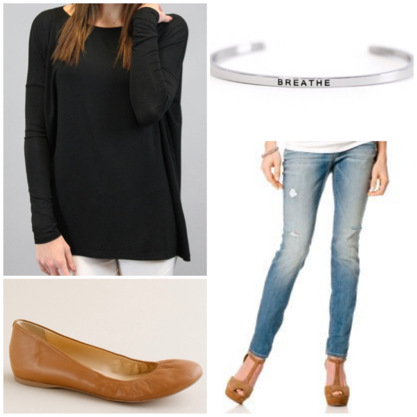 Clockwise from top left: Piko tunic top, MantraBand bracelet, A Pea in the Pod Secret Fit Belly jeans, JCrew Cece Leather flats