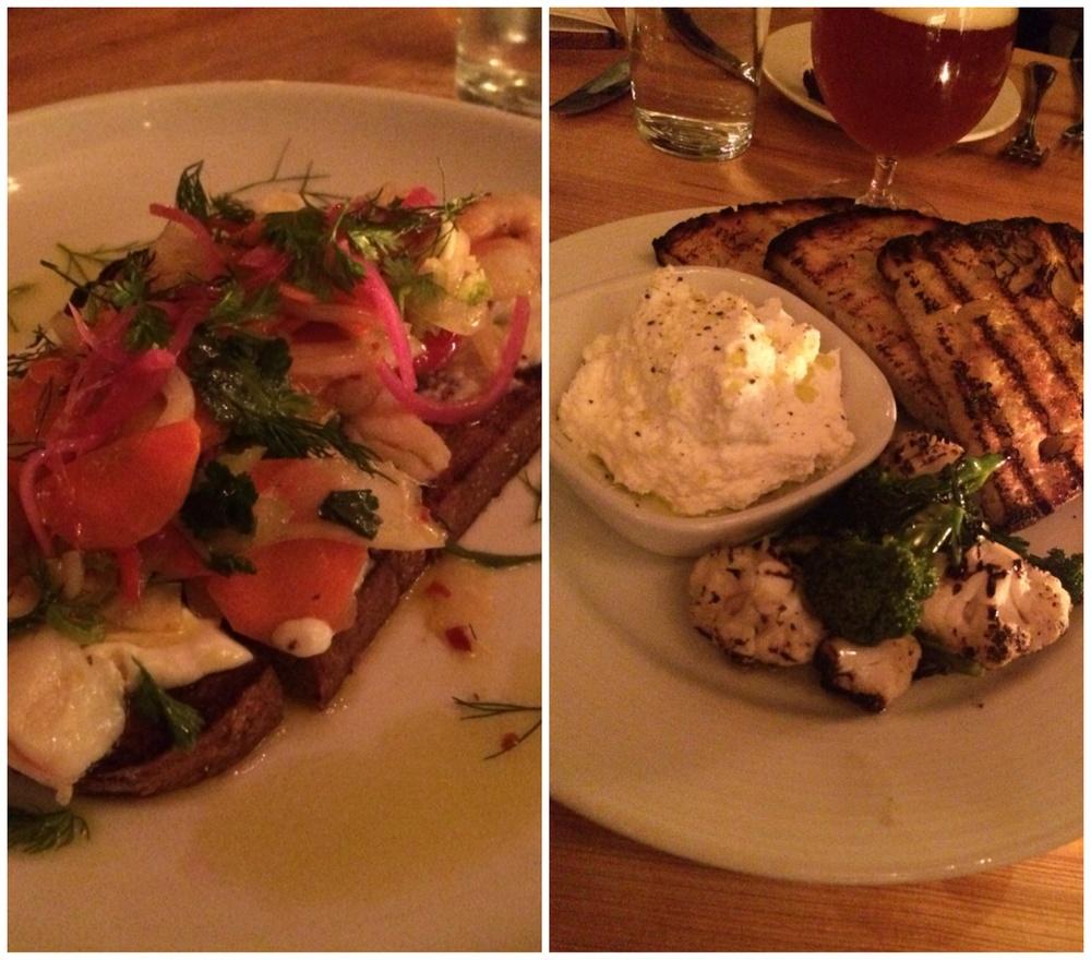 Left: Picked Shrimp; Right: Ricotta Plate
