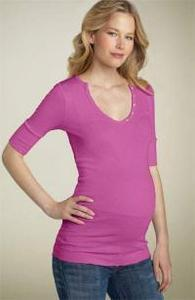 Michael Stars Maternity V-Neck Henley Tee in Shine