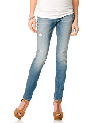A Pea in the Pod Light Wash Skinny Jeans with Secret Fit Belly