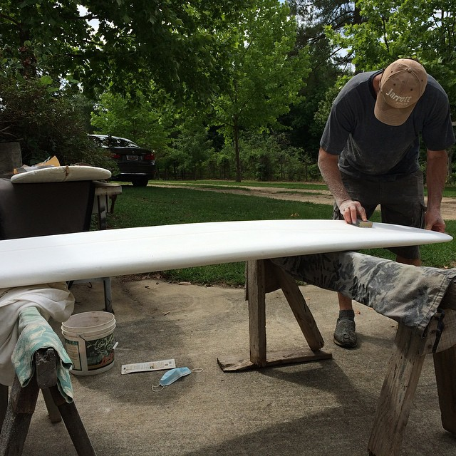 Shaping a few new longboards today at the farm... Just one of the hubs' 24578 other hobbies 🌊🏄😍 #semperfido #ubershaping #gottagetitjustright