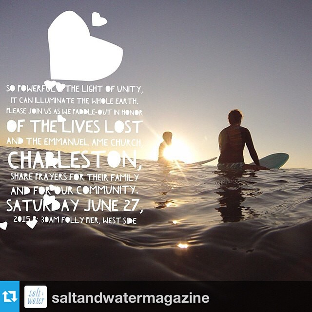 #Repost from @saltandwatermagazine with @repostapp --- Unity || Can Illuminate The Whole Earth  Even if you don't live in Charleston, don't surf or are unable to make it, please join us in a moment of silence Saturday June 27, 2015 at 8:30am EST as we honor the lives lost and pray for healing + peace for the families left behind, our community and world.  Charleston Surf Friends ~  I really hope you can join us for a special morning as we bring our surfing community together to paddle-out in honor of the lives lost at the Emmanuel AME Church last week and show our support for their families and our community as a whole this Saturday June 27 at 8:30am at the Folly Pier.  We will have some flowers there, but please feel free to bring your own and please help us spread the word.  Photo: @twofeetandclassy  #saltandwater #charlestonstrong #prayersforcharleston #surfersunite