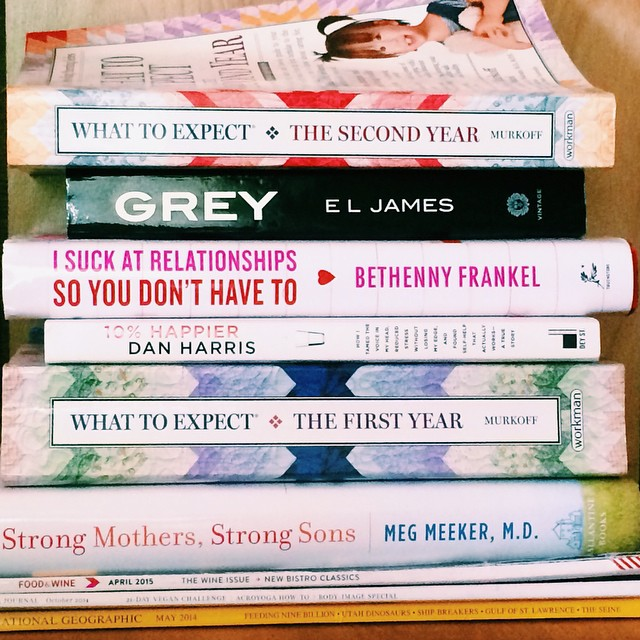 My stack of bedtime reading materials.... don't ever let it be said that moms are one-dimensional!  #whattoexpect #isuckatrelationships #strongmothersstrongsons #10percenthappier