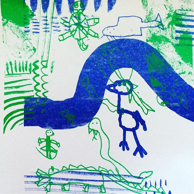 Drawing Club starts this Wednesday 4pm for our lucky last 4 weeks - please join us! - the children will get an opportunity to print their favourite illustrations on the Risograph (A3 two colour digital screen printing wonder machine) one last time. I am so in awe of the child's genius eye for design - it works so well because children are absorbed in the process. #processoverproduct #childart #drawingclub #risograph #twocolourprint