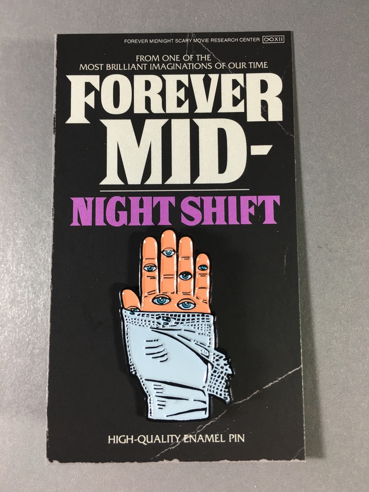 Our Night Shift pin. Available right now! To purchase visit our online shop.