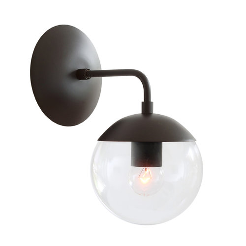 Alto sconce 6 cedar moss cedar moss alto sconce 6 shown in matte black finish with clear glass aloadofball Choice Image