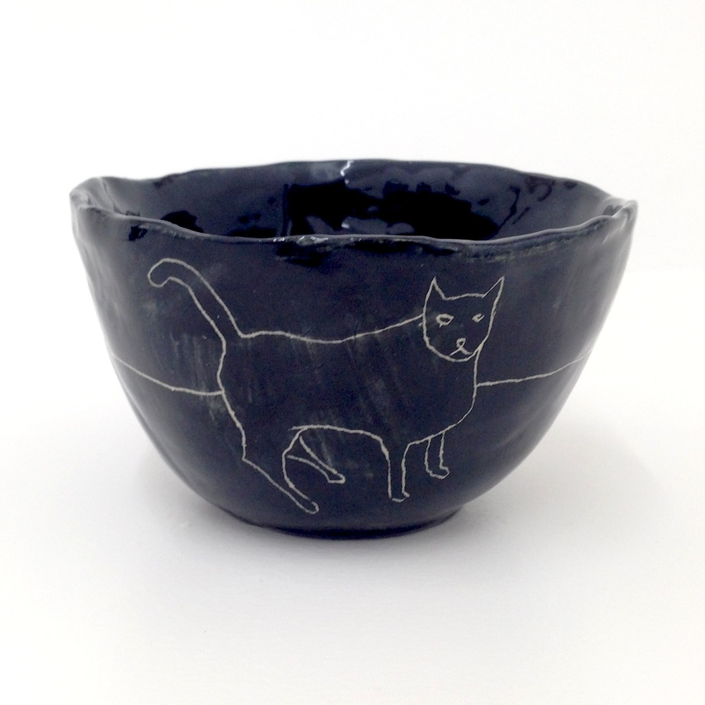 'Untitled (cat)' 2013  Ceramic bowl.