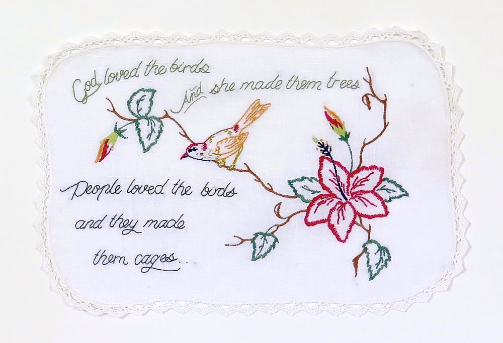 'Hack #5: She knows' 2014  Embroidered cotton.
