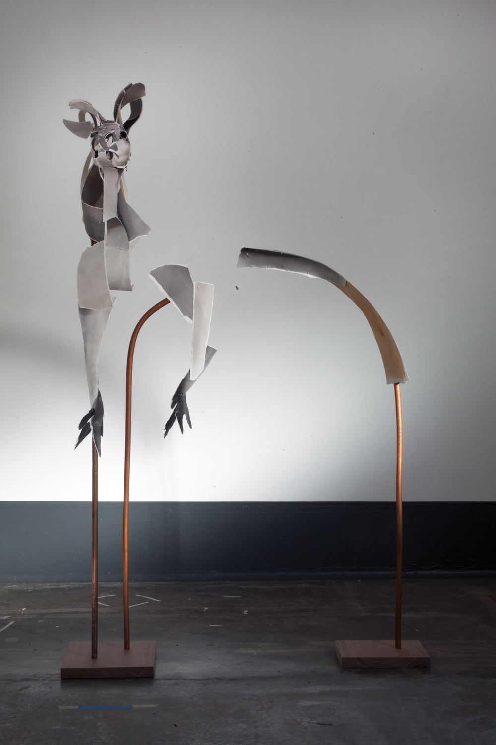 'Highfield Kangaroo' 2014  Archival cotton rag, thread, copper pipe and wood base.