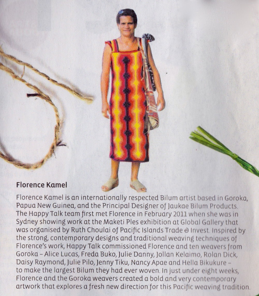 Florence Kamel in the Kalibobo dress,  Happy Talk  publication 2011.