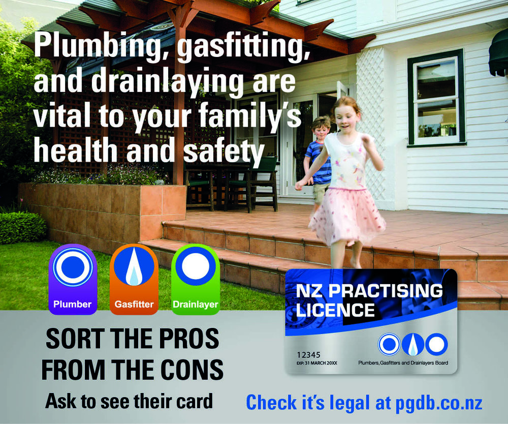 AlWAYS CHOOSE A REGISTERED NZ PLUMBER< GASFITTER OR DRAINLAYER