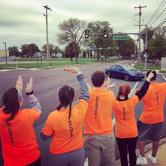If you see the fun group in orange on Lewis Rd, you're at the right place!! #JLS5K #5k #springford #fundraiser