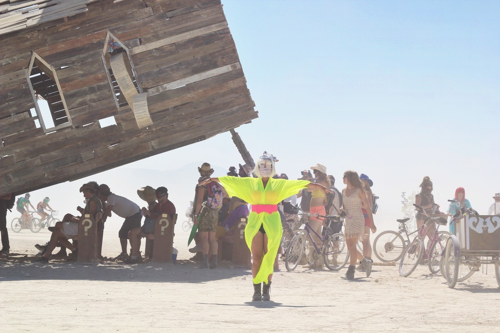 "Out on the playa at the Mouse Trap Church art installation in my Burning Man look I call ""Keiko Ichi"""