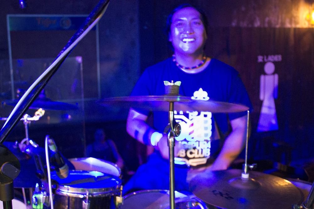 "Firmann ""Rumshot"" on the drums holding us down and reppin' Singapura Dub Club."