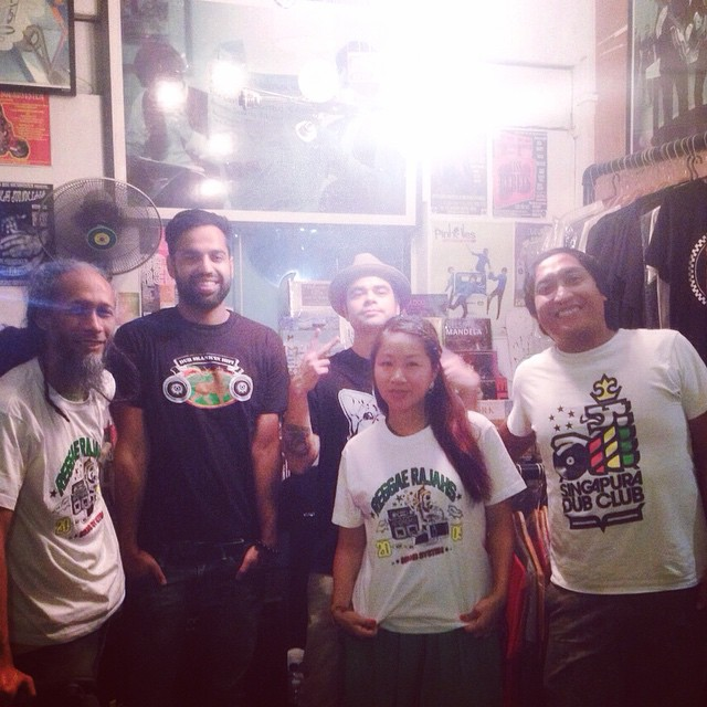 Left to Right: Ras Irie (Dub Skank'in Hifi), Diggy Dang (Reggae Rajahs), Ryan Pittam (CLA), Masia One, Rumshot (Dub Skank'in Hifi) at Staits Records, Singapore