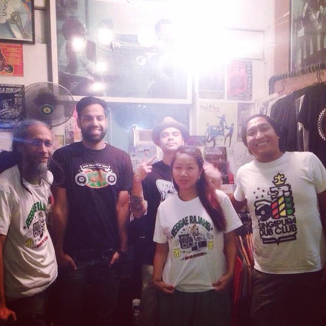 Left to Right: Ras Irie (Dub Skank'in Hifi), Diggy Dang (Reggae Rajahs), Ryan Pittam (CLA), Masia One, Rumshot (Dub Skank'in Hifi) at Staits Records, Singapore