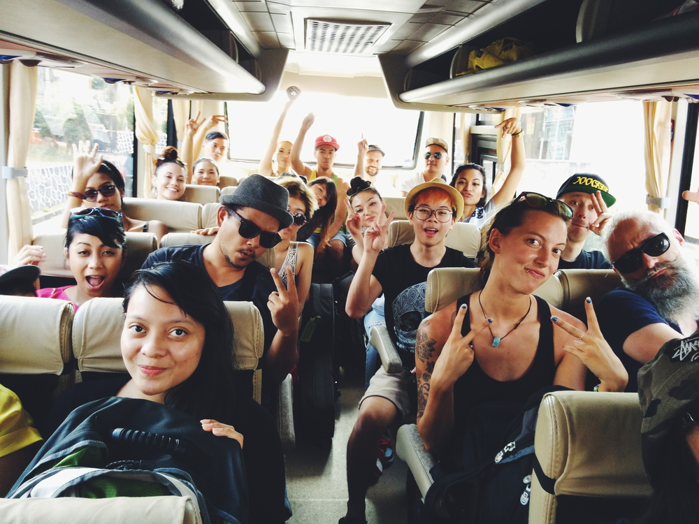 The bus headed to Bintan Dub Club - in spite of the long ride, some sea sickness, everyone was in great spirits.