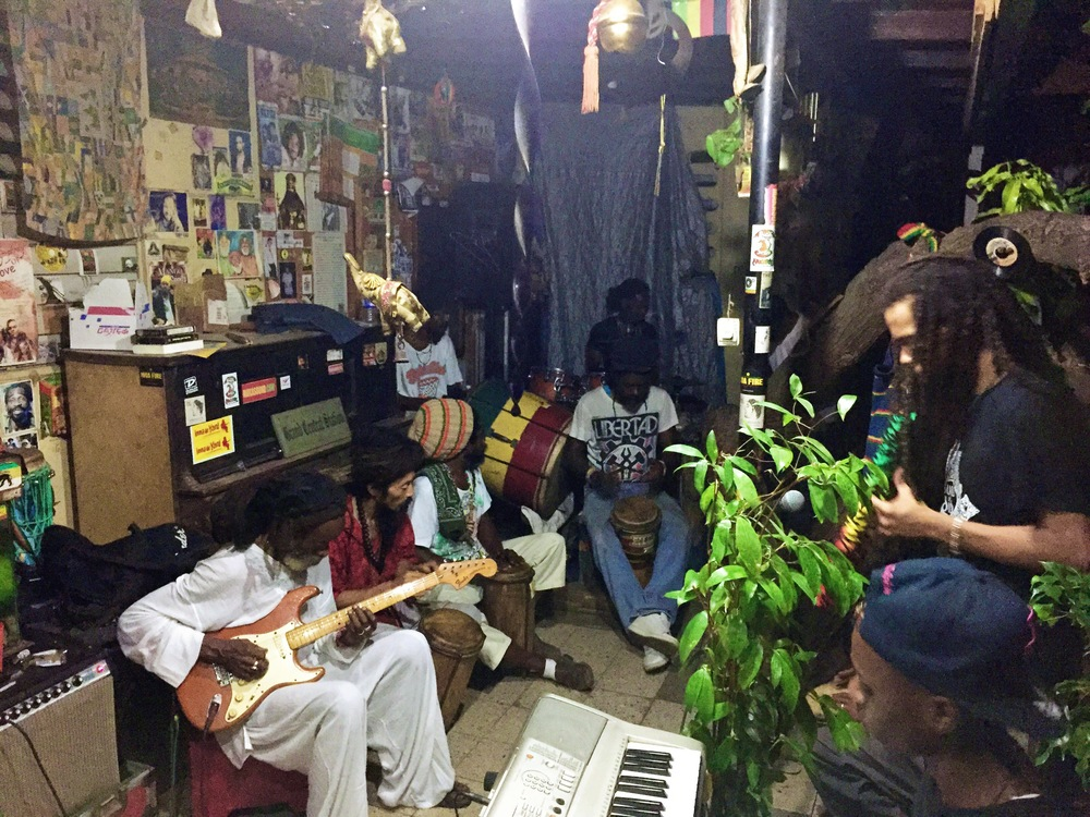 Inna Di Yard musicians with Addis Pablo going through a jam session of Java