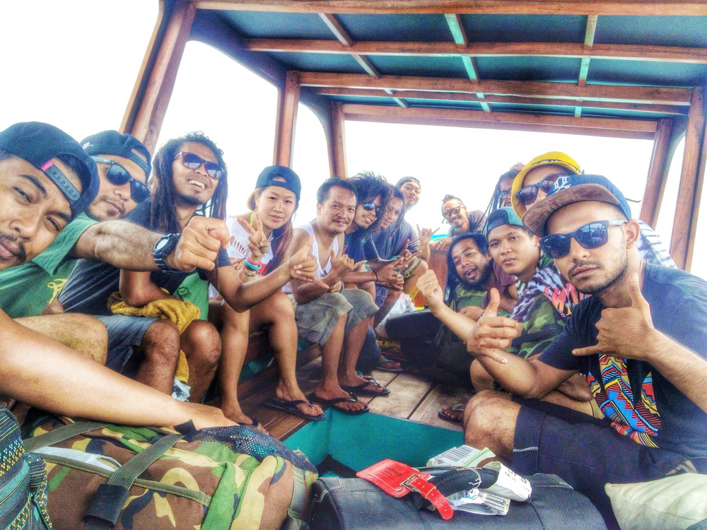 On a boat to Gili Air with local band   Jah on Holiday  .