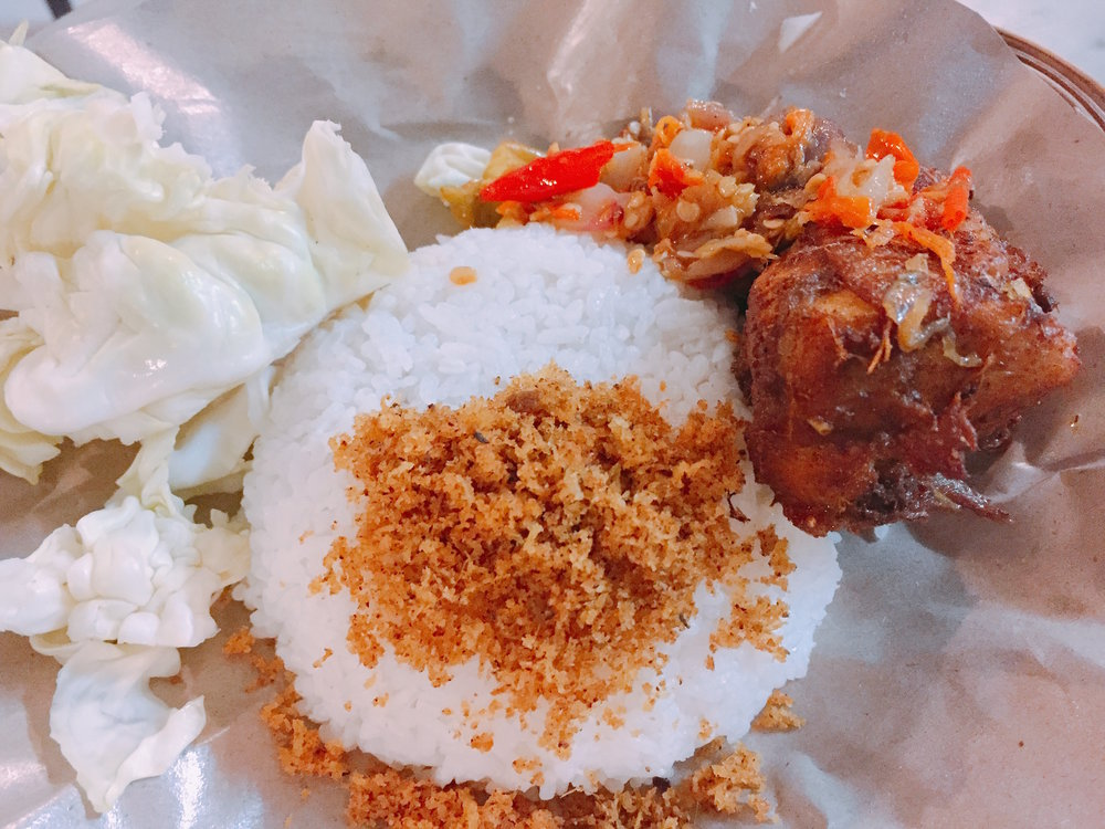 Nasi Ayam, Chicken rice with coconut accents and fresh Chilli.