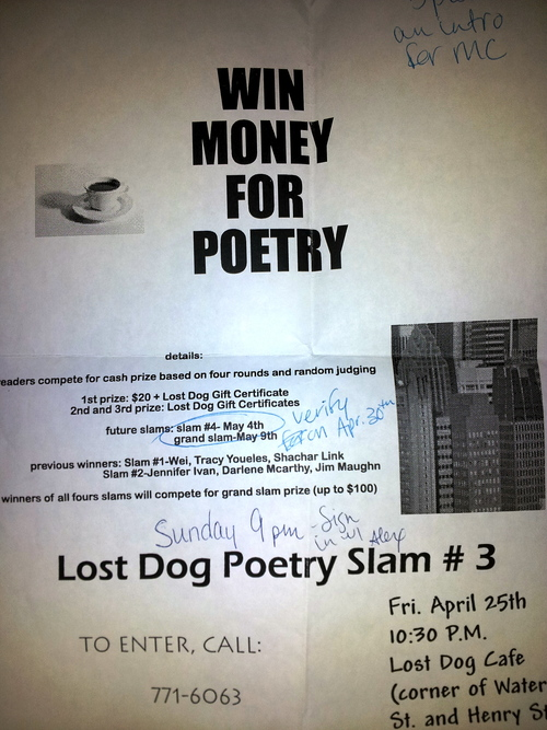 My first poetry slam, at the Lost Dog Cafe in Binghamton, NY