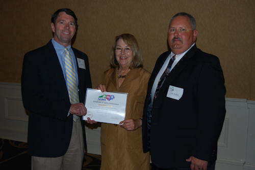 PICTURED, FROM LEFT, AL CHESSON, CHERIE BERRY, AND ANDY HOLLIMAN AT THE SAFETY AWARDS BANQUET.