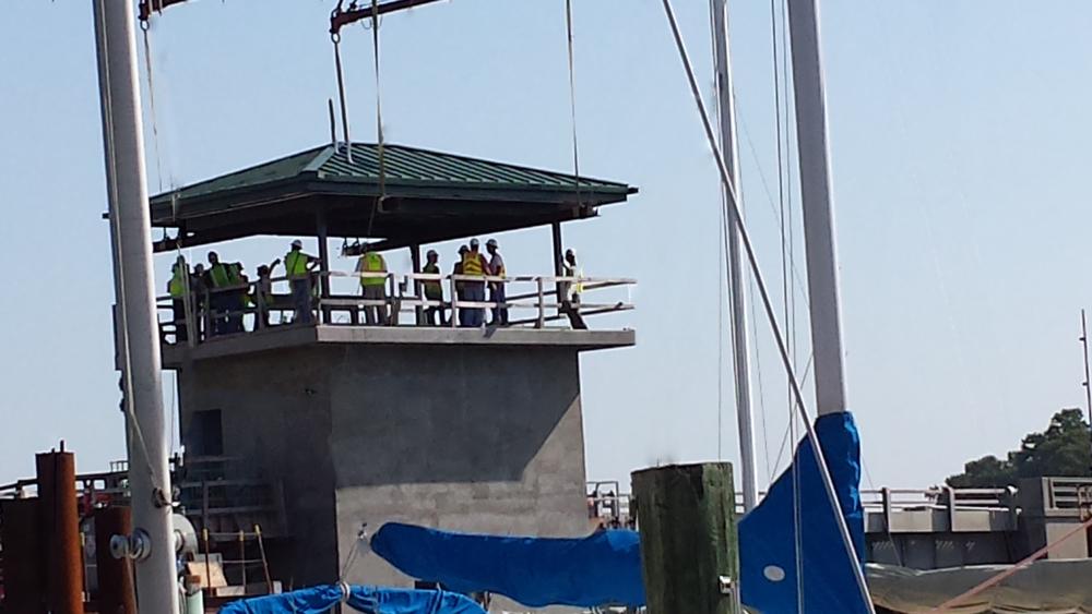 Bridge Tender's House Roof as it is being set.