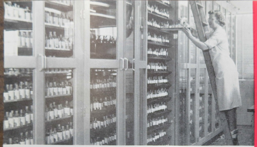 Filing samples in Givaudan's Flavor Division, 1950s. From the  Givaudan Flavorist.