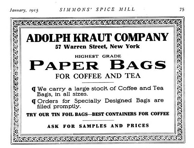 The importance of finding the right container; in this case tin foil bags for coffee. Spice Mill, 1915.