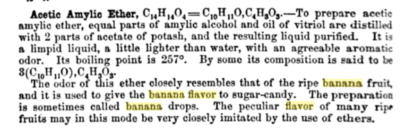 Image from a chemistry textbook from 1860, published in Philadelphia, that associates amyl acetate with banana, not jargonelle pear. Digitized by  Googlebooks .